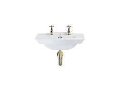 Petite Westminster Cloakroom Basin for wall mounting. Features beautifully carved decoration on splashback and front rim.