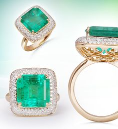 A bewitching beauty, lush green emerald framed by forever brilliant diamonds!