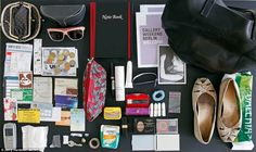 """""""Oriane, 27, from Berlin, has a purse, sunglasses, notebook, gallery guide, plastic bag, a pair of flat shoes, make-up, a spare button, tampons, hairband, plastic bracelet handed out at events, Issey Miyake deodorant, a cosmetics bag, Orthropax ear plugs, Asprin, several receipts and business cards, keys, discarded chewing gum and a phone."""""""