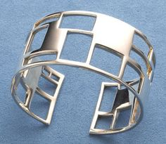 The Museum Shop of The Art Institute of Chicago Jewelry Bracelets Windowpane Cuff Bracelet - Stylehive Geometric Jewelry, Modern Jewelry, Metal Jewelry, Jewelry Art, Silver Jewelry, Jewelry Design, Indian Jewelry, Silver Cuff, Silver Bracelets