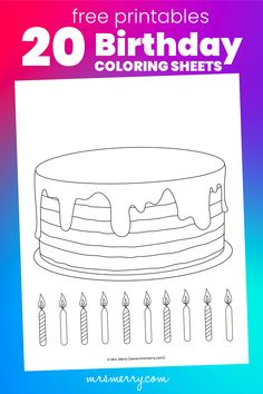 We have 20 birthday coloring sheets to choose from. Make a cake with our coloring cake with candles. Or color a unicorn, dinosaur, or truck. Fancy kings & queens? Color a royal coloring page. All free @ mrsmerry.com Diy Birthday Party Games, Free Birthday Gifts, 20 Birthday, Happy Birthday Signs, Birthday Activities, Happy Birthday Coloring Pages, Easter Egg Coloring Pages, Coloring Pages For Kids, Homeschool Worksheets