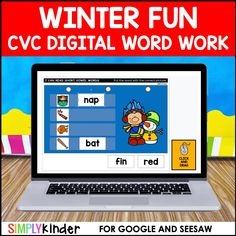 Winter Digital CVC Word Work Activities for Google and Seesaw - Simply Kinder