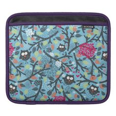 My crazy owl pet iPad sleeve - floral style flower flowers stylish diy personalize