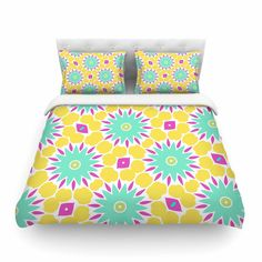 "Alison Coxon ""Summer Bright Floral"" Yellow Blue Pattern Featherweight Duvet Cover"