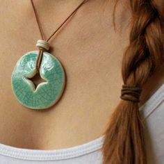 Beautiful ceramic pendant with crackle glaze