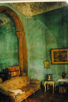 Havana,Cuba by Michael Eastman Interior Architecture, Interior And Exterior, Cuban Decor, Rammed Earth Homes, Green Rooms, Green Walls, Interior Decorating, Interior Design, Vintage Interiors