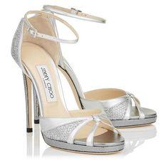 Jimmy Choo TALIA 120 Silver Glitter Fabric and Metallic Nappa Sandals https://www.loveandlavender.com/2017/03/jimmy-choo-wedding-shoes/