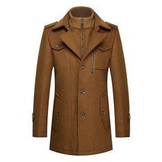 Mens Winter Thickened Warm Woolen Coat Turndown Collar Zipper Button Outwear Online - NewChic Mobile