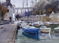 Port of Morlaix by Eugen Chisnicean Watercolor  http://eugenchisnicean.com