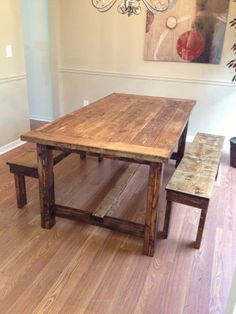 6 ft farmhouse rustic table by TheKnottedTable on Etsy, $500.00