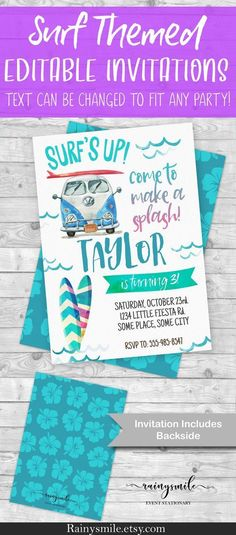 Surfing Invitation - Beach Birthday Surf's Up party invites colorful teen surf party - Kombi Summer invite by RainySmile Boy Birthday Parties, Birthday Party Invitations, Invites, 10 Birthday, Birthday Ideas, Surfs Up, Invitation Text, Invitation Ideas, Strand