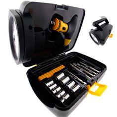 Kit de ferramenta personalizado com 25 peças mais a lanterna, acoplada em uma linda maleta na cor preta. #brindesmasculinos