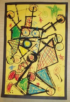 Prints with toilet paper rolls and cardboard, then colored in oil pastels. Fun Miro project.