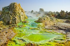 Sulphurous salt springs at Dallol volcano. Danakil depression, Ethiopia. The hottest place on Earth.