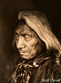 The great chief Red Cloud looking quite sombre in this excellent portrait. 1905.