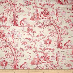 Waverly Haiku Toile Chintz Azalea from @fabricdotcom  Screen printed on lightweight cotton this fabric is very versatile and perfect for window treatments (draperies, curtains, valances, and swags), bed skirts, duvet covers, pillow shams and accent pillows. Colors include azalea pink, coral, white and ivory. This fabric has 9,000 double rubs.