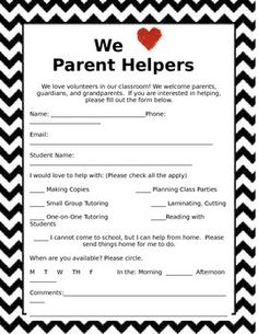 Task 7: Initiate and maintain family contacts: Parent Volunteer Sign Up