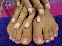 pretty pink and yellow painted nails