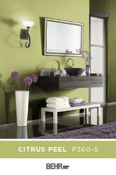 Bright and zesty, we're loving the vibrant style of BEHR® Paint in Citrus Peel. This green hue brings an instant pop of life to the sleek style of this master bathroom. Click below to learn more. Decor, Room, Interior, Home, Green Rooms, Seeds Color Schemes, Paint Colors, Interior Design, Bathroom Design