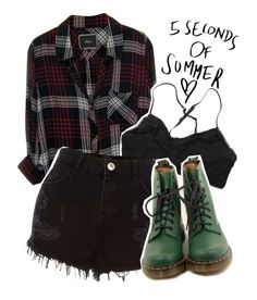 """5 seconds of summer Concert"" by albamonkey ❤ liked on Polyvore featuring Rails, Ganni, River Island and Dr. Martens"