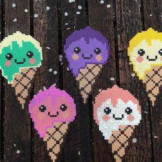 Kawaii ice cream cones hama beads by reginehoen