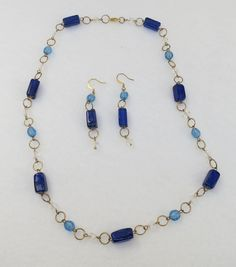 Vintage Cobalt Blue Glass Bead Goldtone Necklace and Earrings by Framarines on Etsy