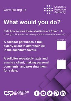 The Solicitors Regulation Authority (SRA) regulates solicitors in England and Wales. Report a solicitor, check a solicitor's record or learn what to expect from your solicitor. Protecting consumers of legal services University Of Warwick, Conference, Law, Trust, Advice, Author, This Or That Questions, Learning, Tips