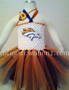 Denver Broncos Tutu Dress 0-2t (Additional Sizes Available) FREE SHIPPING. $60.00, via Etsy.