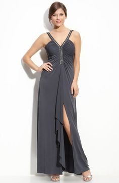 JS Boutique Beaded Ruched Jersey Gown available at #Nordstrom