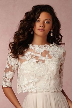These 21 Ridiculously Stunning Long Sleeved Wedding Dresses will turn heads and warrant a second, or third lavishing look. Wedding Dress Topper, Wedding Dress Sleeves, Long Sleeve Wedding, Wedding Gowns, Wedding Jacket, Wedding Dress Separates, Bridal Separates, Chic Bridesmaid Dresses, Bridesmaid Hairstyles