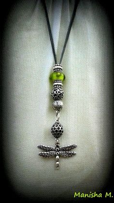 PANDORA Dragonfly Pendant Necklace with Lime Green Murano and Grey Fabric String (Lariat)........