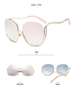 f48a3df3c5d59 Rimless Oversized Round Gradient Sunglasses