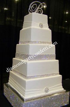 Rhinestone Bling Wedding Cake - 5 tier square wedding cake with crystal rhinestone banding and rhinestone brooches