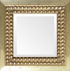 Tuscany Distressed Silver Bead Mirror — silver leaf wood frame with beveled mirror in many sizes and custom sizes. Made in USA by MUSEUM FACSIMILES