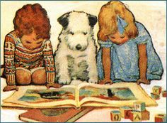 vintage children's book illustration - famous image of 2 kids and a dog reading a childs book