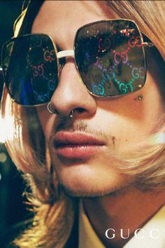 5c251e3cf1e7 Gucci Rectangular-frame metal sunglasses