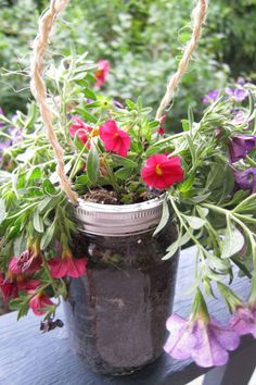 One Quart Sized Wide Mouth Mason Jar Garden by SwiftRiverCreations, $12.50