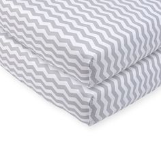 """Send baby off to dreamland on an oh-so-soft Babies""""R""""Us Grey Chevron Printed Sateen Crib Sheets. Made of cotton, the lightweight fabric feels smooth and gentle"""