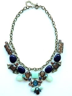 Blue Aqua and Brown Statement Necklace