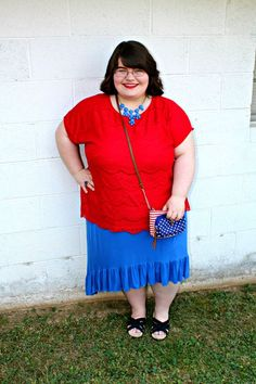 Unique Geek: Plus Size OOTD: Red, White, & Blue #plussizefashion #plussize #plussizeblogger #plussizefashionblogger #plussizeoutfit #plussizeootd #plussizesummeroutfit #fourthofjulyoutfit #fourthofjuly #plussizefourthofjuly #churchoutfit #modestoutfit #modestfashion #patrioticoutfit