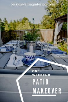This simple and budget-friendly dining patio makeover transforms a small ugly concrete slab patio into a beautiful outdoor dining room. There's a vertical garden, string lights, an outdoor rug, and more! Outdoor Curtains, Outdoor Rooms, Outdoor Decor, Rustic Outdoor, Weekender, Concrete Slab Patio, Outdoor Dining Furniture, Kitchen Furniture, Rustic Furniture