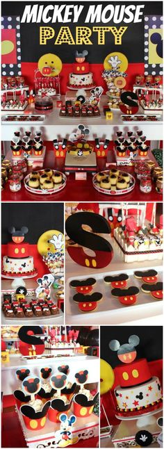 So many great details at this classic Mickey party! See more party ideas at… Mickey Mouse Theme Party, Fiesta Mickey Mouse, Mickey Mouse Baby Shower, Mickey Mouse Clubhouse Birthday Party, Mickey Mouse 1st Birthday, 1st Boy Birthday, Mickey Mouse Desserts, Mickey Mouse Birthday Decorations, Birthday Ideas