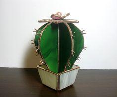 Decoración del vidrio manchado Cactus por MyVitraz en Etsy