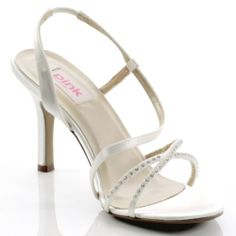 It has a high heel complimented with delicate straps across the whole foot with diamante detailing frontage design.  Finished with a slingback strap.  Blush - Dyeable White Satin Bride-Bridesmaid Wedding Shoe- Pink By Paradox  RRP £54 - Our Price £20
