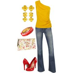 yellow  red - salsa dancing outfit