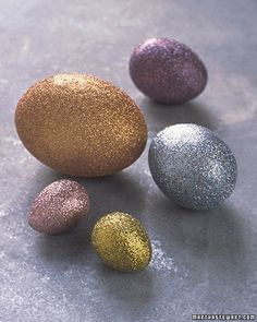 Glitter Coated Easter Eggs : Martha Stewart