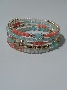 Coral and Mint memory wire bracelet