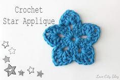 crochet star applique pattern, a great 4th of July craft, easy enough for kids to try! Attach it to a stick, add ribbons, and wave it proudly at an Independence Day parade! by www.lovecityblog.com