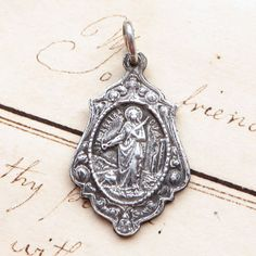 1bff6e05f70 St Agatha / St Lucy Medal - Sterling Silver Antique Replica - Patrons  against breast cancer & vision problems