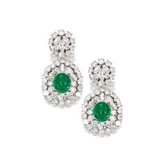 A Pair of Platinum, Emerald and Diamond Earclips, Verdura | Lot | Sotheby's